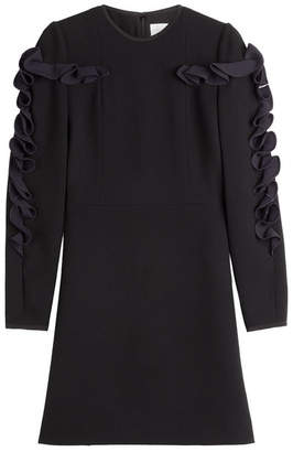 Victoria Beckham Victoria Wool and Crepe Ruffle Sleeve Dress
