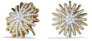 David Yurman Starburst Earrings With Diamonds In 18K Gold, 18Mm