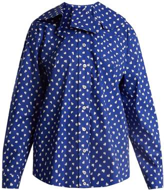 Marni Ruffled-collar fleck-print cotton shirt