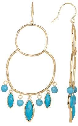 Gorjana Eliza Beaded Hammered Double Hoop Chandelier Earrings