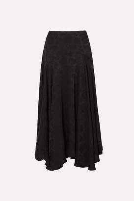 Chloé Plissé-jacquard Midi Skirt - Black