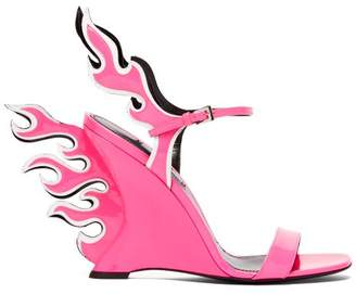 Prada Flame Patent Leather Sandals - Womens - Pink