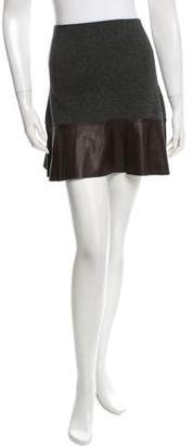 Allude Leather-Accented Mini Skirt w/ Tags