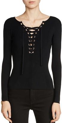 Maje Matana Lace-Up Sweater $275 thestylecure.com