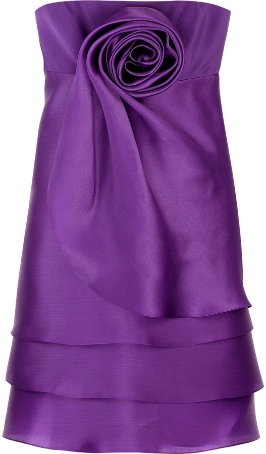 Marchesa Strapless silk rosette dress
