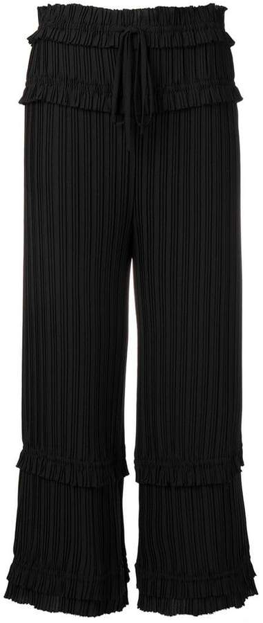 ruffled pleated trousers