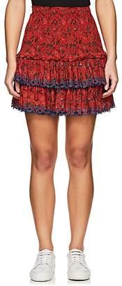 Etoile Isabel Marant Women's Naomi Smocked Cotton Miniskirt - Red