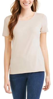Time and Tru Women's Classic Short Sleeve Scoopneck T-Shirt