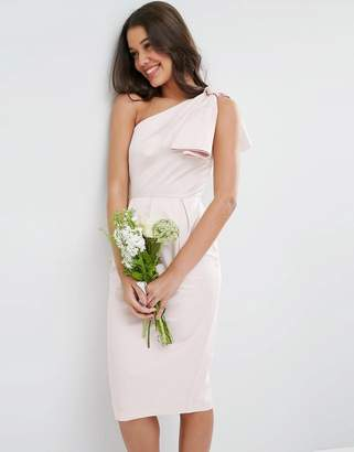 Asos Design DESIGN Bridesmaid one shoulder structured bow dress