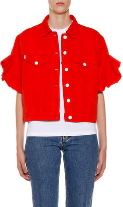 MSGM Button-Front Ruffle-Sleeve Denim Jacket