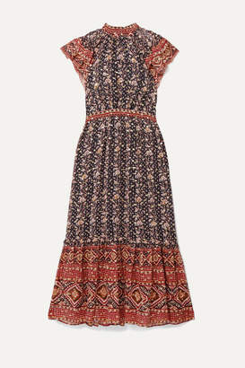 Ulla Johnson Alastair Ruffled Printed Fil Coupé Silk And Lurex-blend Midi Dress - Brown