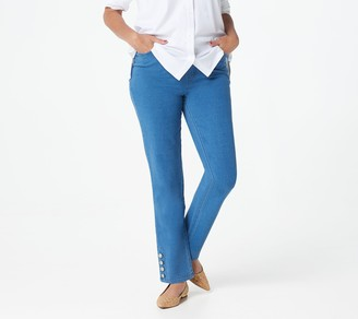 Denim & Co. Comfy Knit Slim Leg Jeans with Bling Buttons