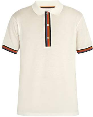 Paul Smith Striped Placket Cotton Polo Shirt - Mens - White