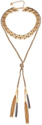 GUESS Metallic Metals Crystal Multi-Strand Tassel Necklace