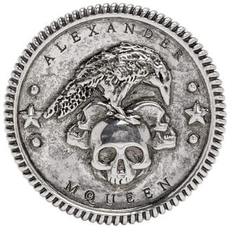 Alexander McQueen Silver Crow Medallion Ring