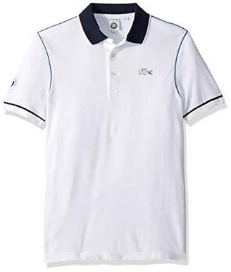 Lacoste Men's Short Sleeve Pique with Contrast Piping & Collar Polo