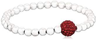 Very Me Ruby Color Crystal Silver Color Beads Bracelet