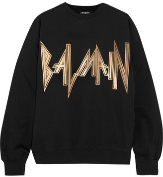 Balmain - Oversized Printed Cotton-jersey Sweatshirt - Black $495 thestylecure.com