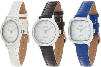 Ecclissi Facets Set of 3 Diamond Accent BoxedWatches