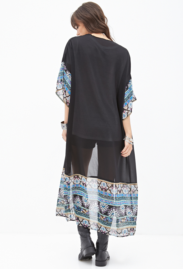 Forever 21 Ornate Print Maxi Kimono
