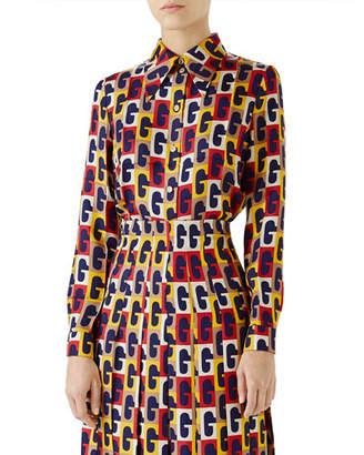 Gucci G-Sequence Long-Sleeve Button-Down Silk Shirt