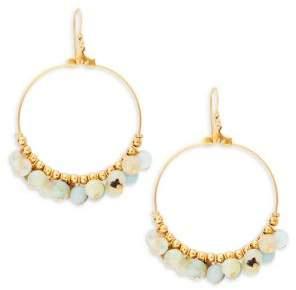 Kenneth Jay Lane Goldtone and Amazonite Bead Wire Hoop Earrings