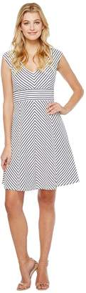 Adrianna Papell Cap Sleeve Stripe Fit and Flare Dress Women's Dress