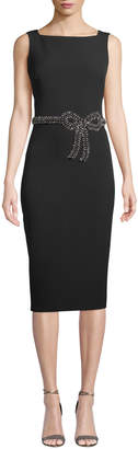 Badgley Mischka Sleeveless Embellished Bow Sheath Dress