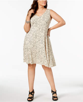 Style&Co. Style & Co Plus Size Printed Cross-Back Swing Dress, Created for Macy's
