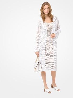 MICHAEL Michael Kors Crocheted Cotton Tie-Front Cardigan