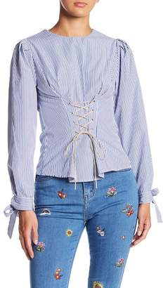 Romeo & Juliet Couture Striped Corset Tie Sleeve Blouse