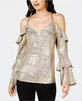 Thalia Sodi Metallic Cold-Shoulder Top