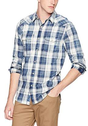Lucky Brand Men's Casual Long Sleeve Plaid Button Down Western Shirt