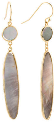 18k Plated Sterling Silver Mother Of Pearl Drop Earrings