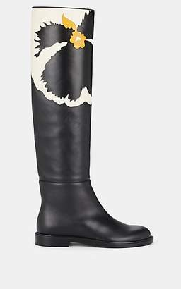 Valentino Women's Floral Leather Knee Boots - Black