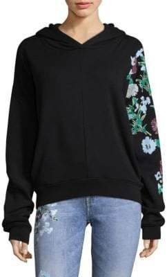 7 For All Mankind Floral Cropped Hoodie