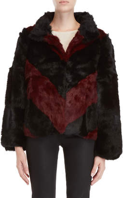 Equipment Love Token Chevron Real Fur Jacket