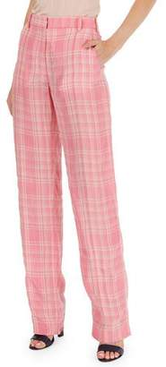 Victoria Beckham Plaid Flat-Front Straight-Leg Pants