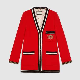 Gucci Wool sable jacket with crest applique