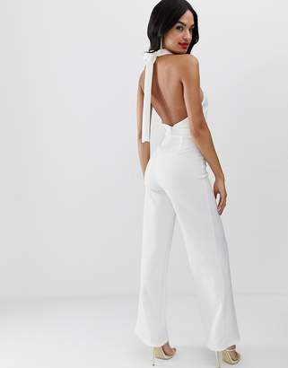 4b9a11bbd8 True Violet exclusive wide leg halter neck jumpsuit in ivory