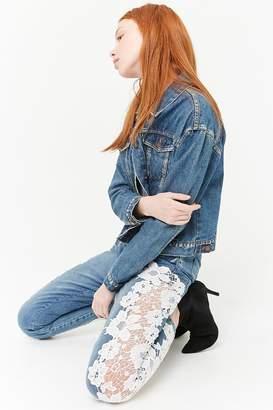 Forever 21 Crochet Mid-Rise Jeans