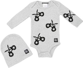 Rock Star Baby Printed Light Cotton Bodysuit & Hat