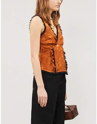 Ganni Ladies Crml Café Orange Ackerly Horse-Pattern Silk-Satin And Stretch-Lace Top