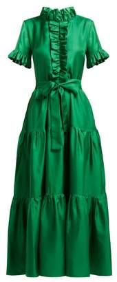 La Doublej - Long & Sassy Silk Dress - Womens - Green