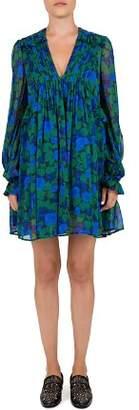 The Kooples Winter Night Pleated Floral Silk Mini Dress