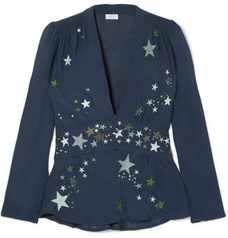 Pandora RIXO London Embellished Embroidered Georgette Top - Midnight blue