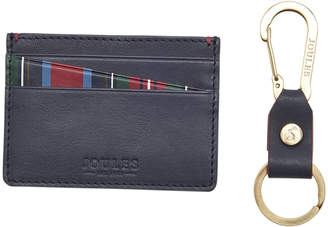 Joules Hobson Leather Card Holder & Keyring - Brown With Stripe