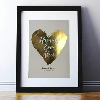 Spin Collective Metallic Happily Ever After Heart Wedding Print
