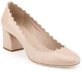 Chloé Scalloped Leather Pump, Pink Tea