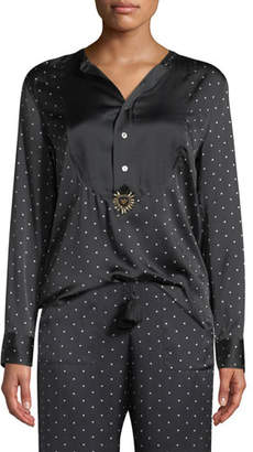 Figue Milagro Long-Sleeve Dot-Print Silk Tux Shirt
